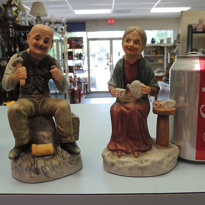 Older Couple Ceramic Figures