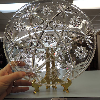 """13.5""""Vintage Large Clear Glass Round Serving Tray By Anchor Hocking"""