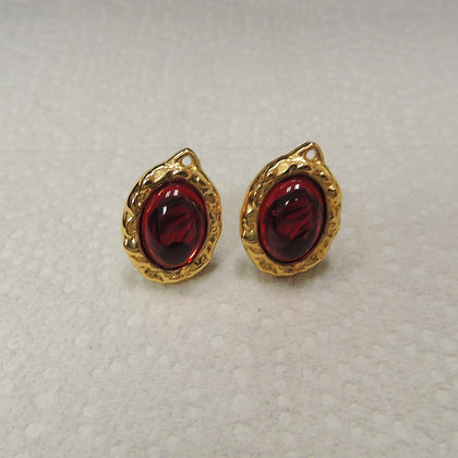 Pair of Red Stone Clip on Earrings
