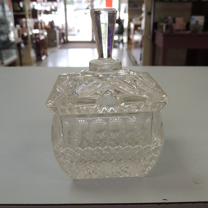"5"" Pressed Glass Sugar Bowl (missing spoon)"
