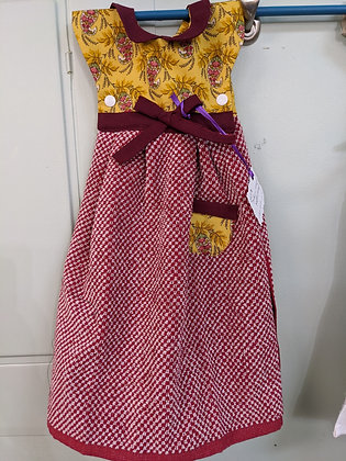 Handcrafted dress burgundy and gold tea towel WTT-62-2020