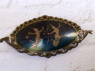 Vintage Siam Sterling pin with dancing ladies, signed 'Siam'