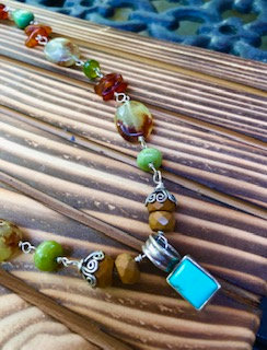 Natural faceted jasper, agate, amber, tourquise necklace