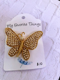 Vintage signed Marvella pearl butterfly pin,