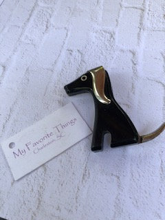 Mid-century Modern doggie pin, silver accents, unsigned