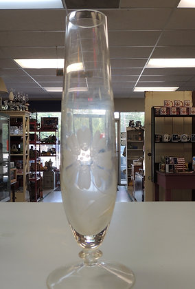 "10"" Etched Glass Bud Vase"