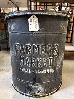 FARMERS MARKET METAL TRASH BIN -360238