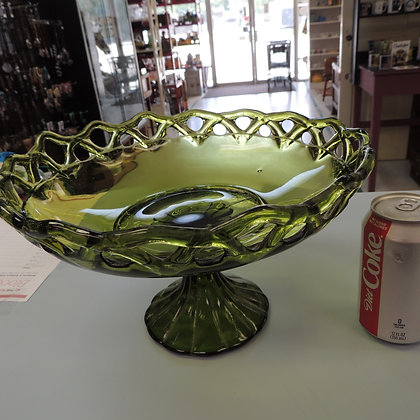 "12"" Green Glass Open Lace Compote"