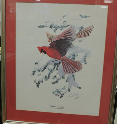 "Guy Coheleach Print, ""Winter Cardinals"""