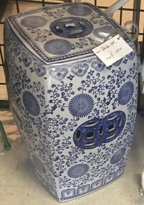 Blue & White Square Garden Stool