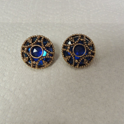 Pair of Clip on Earrings (Blue Stone)