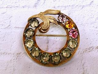 Vintage Van Dell, GF Rhinestone pronged round circle pin