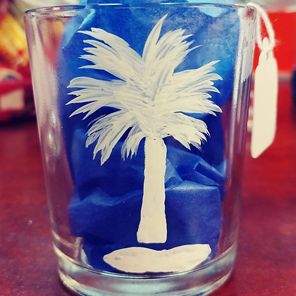 Palmetto Tree Votive Candle Glass