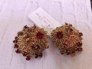 Vintage fancy red rhinestone frilly clipon earrings, so cool