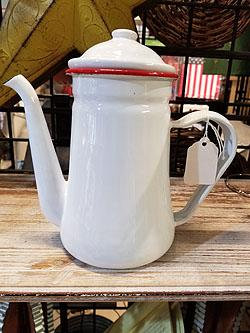 """RED RIM ENAMEL COFFEE POT 8"""" H"""
