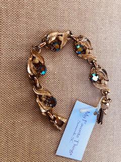 Vintage Green Rhinestone goldtone bracelet 1960's