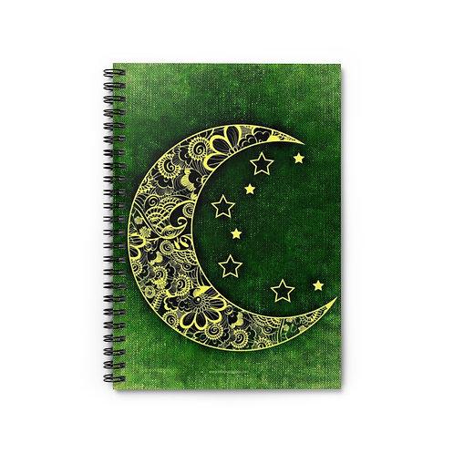 Mandala Crescent Moon Green | 5x8 Spiral Notebook - Ruled Line