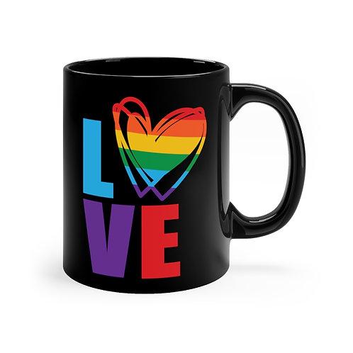 Cute Rainbow Heart Love Coffee Mug   11oz Black Coffee Cup