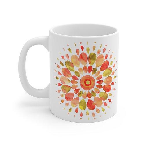 Watercolor Mandala Orange Mug 11oz