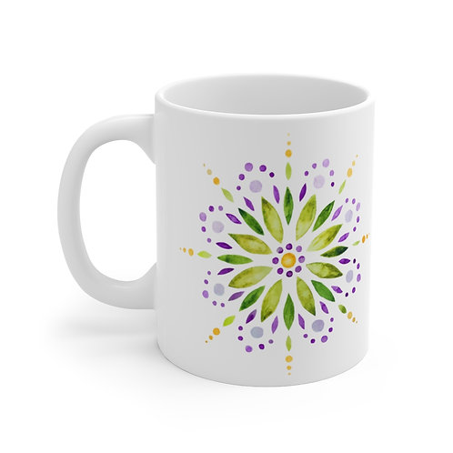 Watercolor Mandala Green Mug 11oz