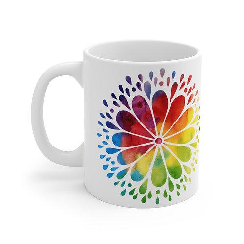 Watercolor Mandala Rainbow Mug 11oz