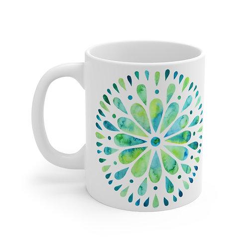 Watercolor Mandala Blue & Green Mug 11oz