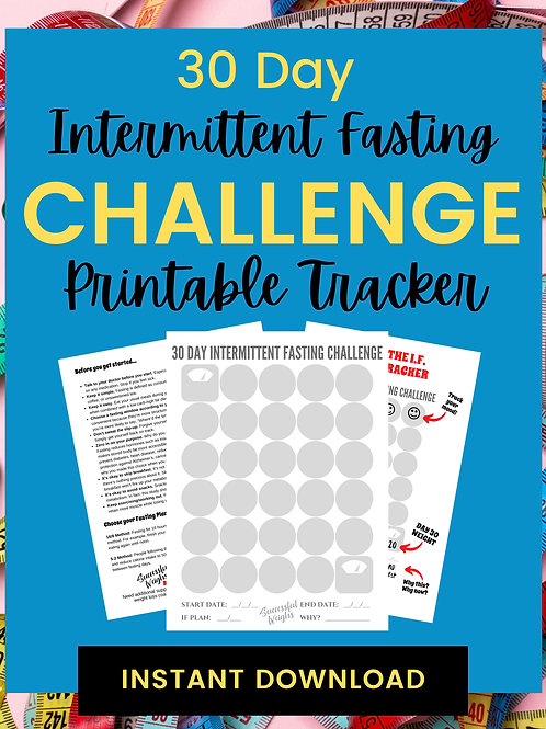 30 Day Intermittent Fasting Challenge Tracking Sheet