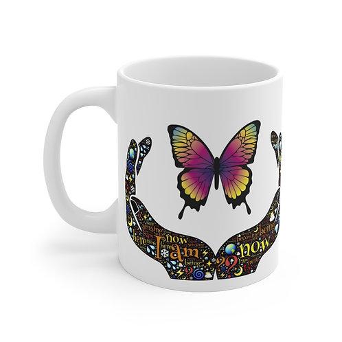 """Butterfly """"I Am"""" Affirmations Mug 11oz"""