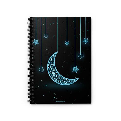 Moon & Stars | 5x8 Spiral Notebook - Ruled Line