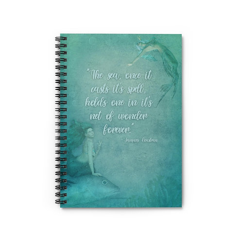Jacques Cousteau Quote | Mermaid Spiral Notebook - Ruled Line 5x8