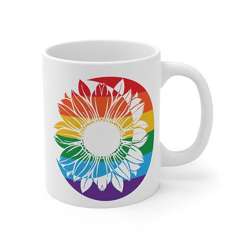 Rainbow Sunflower Moon Pride Coffee Mug | 11oz White Coffee Cup