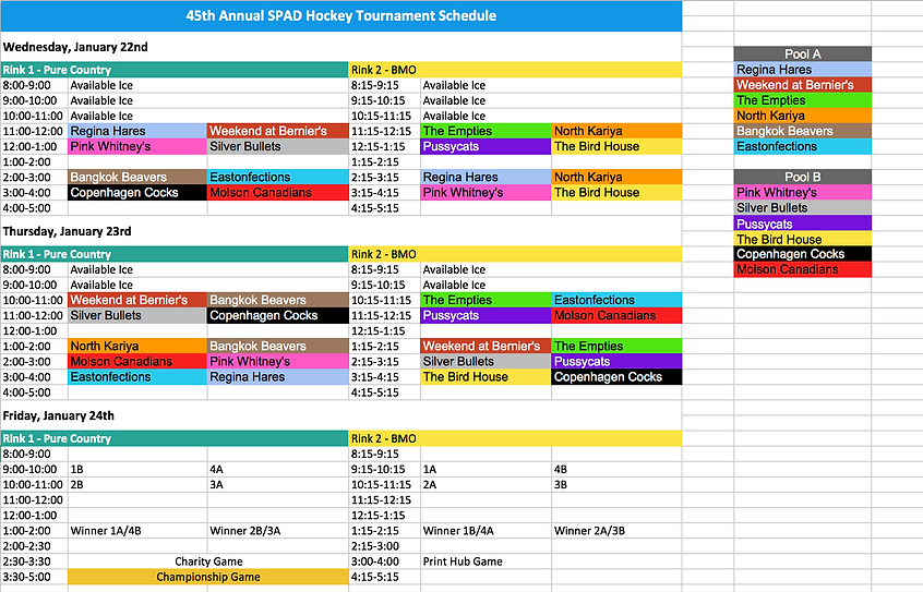 Schedule - 45th Annual SPAD Hockey Tourn