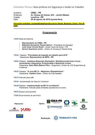 Seminário Técnico ''Boas práticas em SST'' - Londrina - 28.08.2019