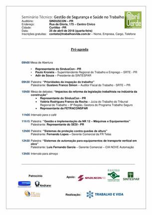Seminário Técnico - Gestão de Segurança e Saúde no Trabalho - Curitiba/PR - 25 de abril de 2018
