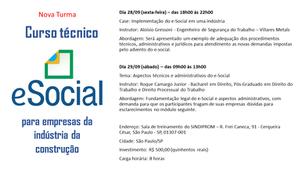 Nova Turma - Curso Técnico - E-Social - São Paulo/SP - 28 e 29 de setembro de 2018