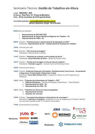 Seminário Técnico: Gestão de Trabalhos em Altura - Rio de Janeiro/RJ - 28/11/2019