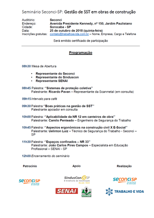 Seminário Seconci ''Gestão de Segurança e Saúde no Trabalho'' - Sorocaba/SP - 27 de