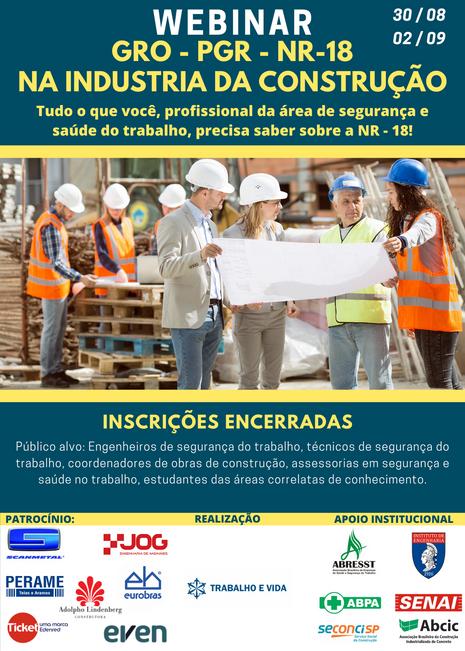 WEBINAR GRO - PGR NR 18 NA INDÚSTRIA DA CONSTRUÇÃO
