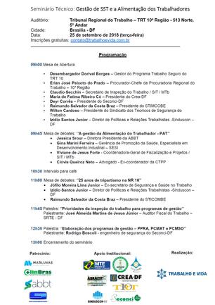 Seminário Técnico - Gestão de SST e a Alimentação dos Trabalhadores - Brasília/DF - 25 de setembro d