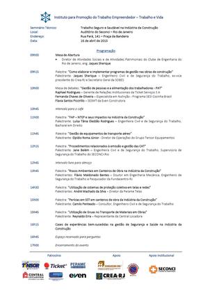 """""""TRABALHO SEGURO E SAUDÁVEL NA INDÚSTRIA DA CONSTRUÇÃO"""" - RIO DE JANEIRO/RJ - 16/04/2015"""