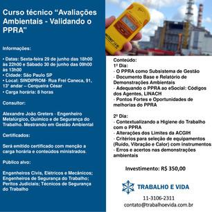 """Curso Técnico """" Avaliações Ambientais: Validando o PPRA"""" - 29 e 30 de Junho - São Paulo/SP"""