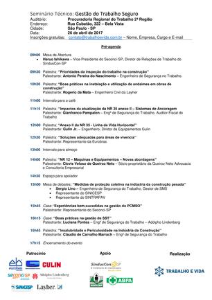 """Seminário Técnico """"Gestão do Trabalho Seguro"""" PRT - 26.04.2017."""