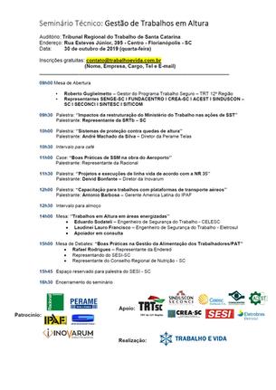 Seminário Técnico ''Trabalhos em Altura'' - Florianópolis 30.10.2019