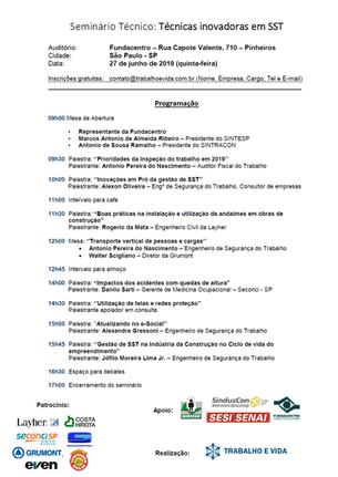 Seminário Técnico: Técnicas inovadoras em SST - São Paulo/SP - 27 de junho de 2019