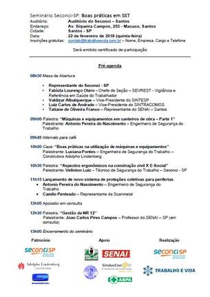 Seminário Técnico - Boas práticas em SST - Santos/SP - 22 de fevereiro de 2018