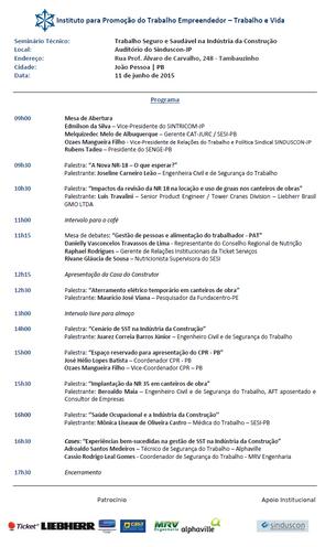 """""""TRABALHO SEGURO E SAUDÁVEL NA INDÚSTRIA DA CONSTRUÇÃO"""" - JOÃO PESSOA/PB - 11/06/2015"""