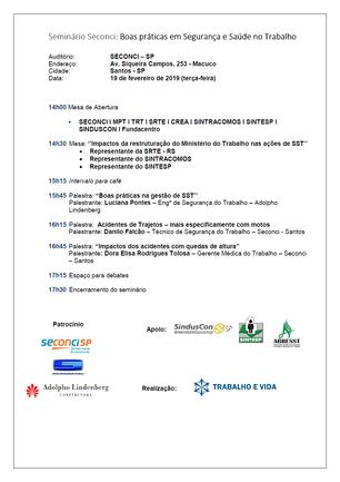 Seminário Seconci: Boas práticas em Segurança e Saúde no Trabalho - Santos/SP - 19 de fevereiro de 2