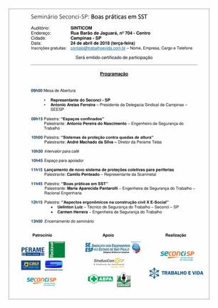 Seminário Técnico - Boas Práticas em SST - Campinas/SP - 24 de abril de 2018