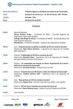 """""""TRABALHO SEGURO E SAUDÁVEL NA INDÚSTRIA DA CONSTRUÇÃO"""" - SALVADOR/BA - 09/06/2015"""