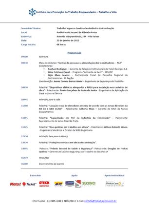 """""""TRABALHO SEGURO E SAUDÁVEL NA INDÚSTRIA DA CONSTRUÇÃO"""" - RIBEIRÃO PRETO/SP - 23/01/2015"""